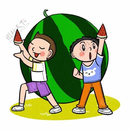 卡通儿童夏天一起吃西瓜png透明底