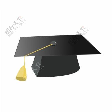 毕业季黑色学士帽元素