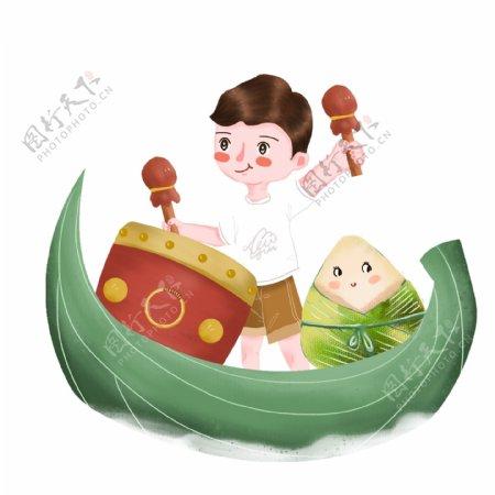 端午节敲锣打鼓的男孩粽子元素