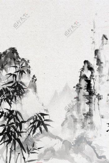 大气复古山峰竹子背景