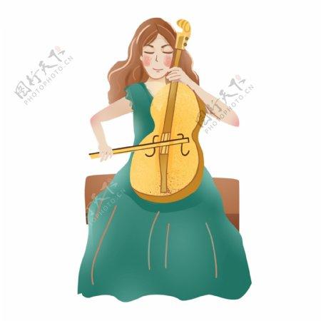 文艺手绘拉大提琴的女孩