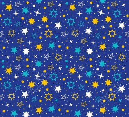 彩绘闪耀星星无缝背景