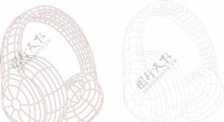 3d线条耳麦矢量图
