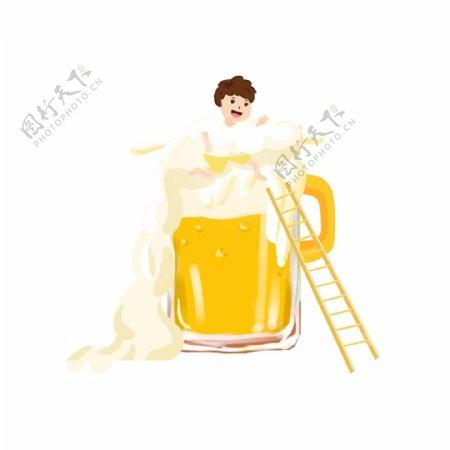 卡通可爱喝酒男孩png素材