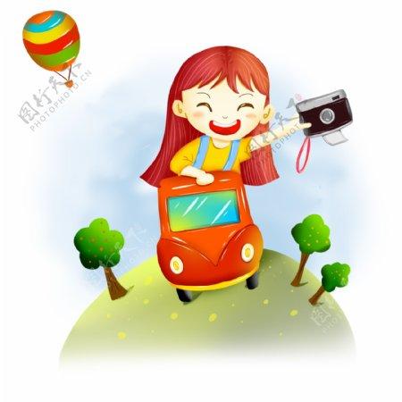 卡通女孩国庆节旅游热气球动态GIF元素