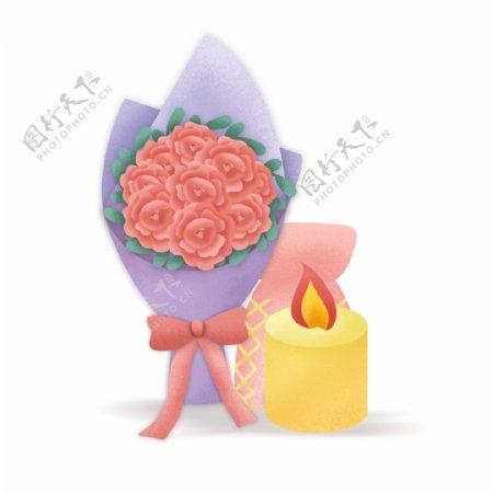 小清新浪漫花束和香薰蜡烛
