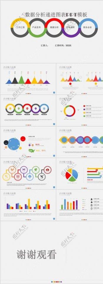 靓丽彩色数据分析递进图表PPT