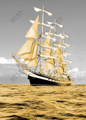 一帆风顺帆船轮船海洋