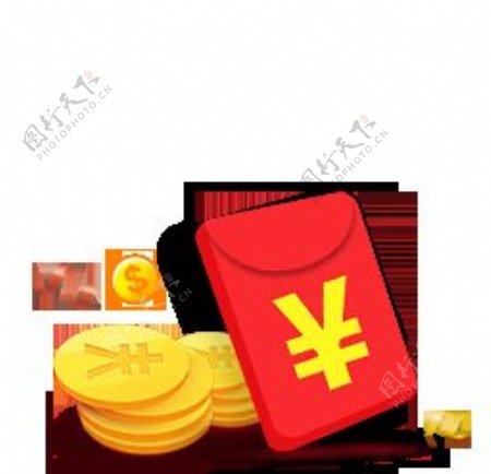 高清金币红包png透明底素材