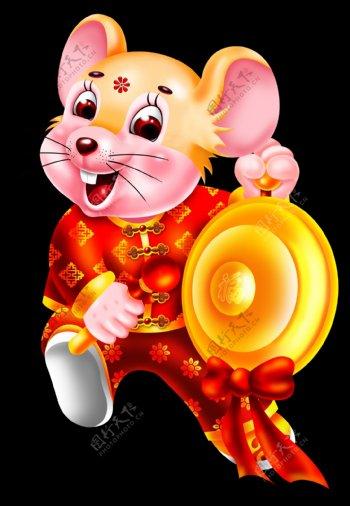新年喜庆敲锣打鼓卡通鼠