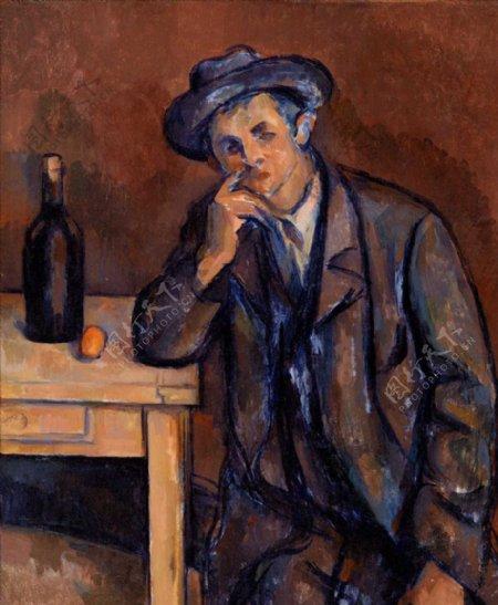 喝酒男人油画