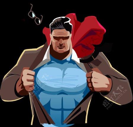 卡通超人爸爸英雄降临霸气十足
