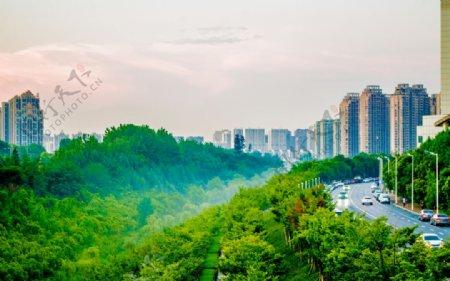城市晚霞风景