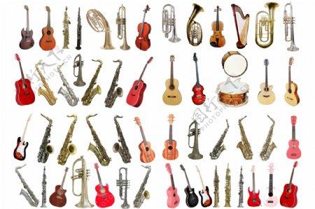 54种吉他萨克斯等乐器高清PS