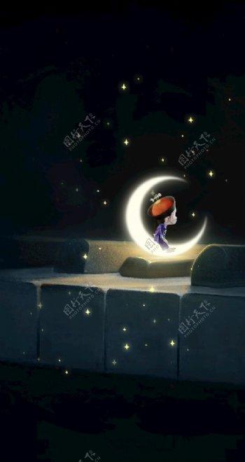 僵小鱼月亮星空屏保