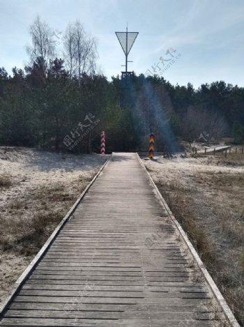 德国波兰边境具有里程碑