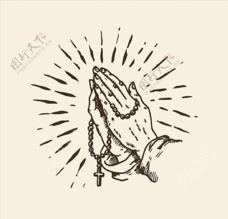 手绘宗教祈祷图案印花