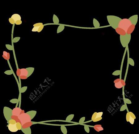 春天藤蔓花朵边框