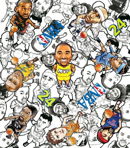 卡通NBA球星科比