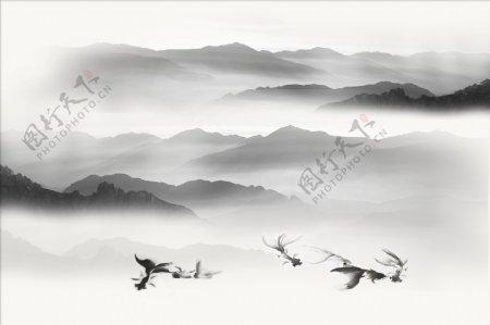 新中式抽象水墨意境山水背景墙