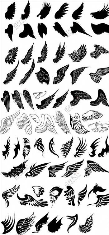 矢量剪影翅膀