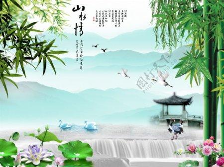 竹叶山水风景