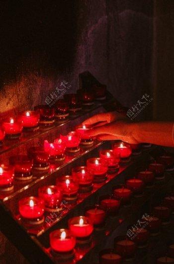 蜡烛红色祝福祈祷背景素材
