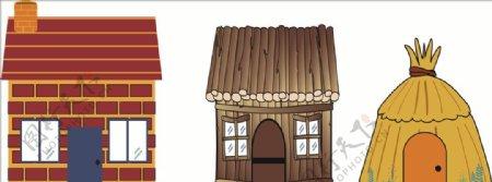 三只小猪的房子草木砖