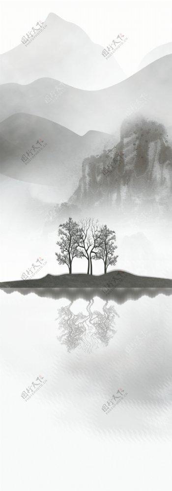 玄关新中式意境山水背景墙