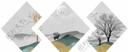 新中式水墨意境山水山脉装饰画
