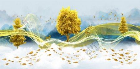 新中式金色线条意境山水装饰画