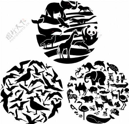 野生动物圆形拼图创意矢量剪影