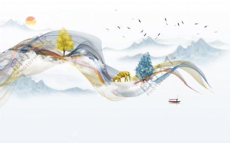 新中式抽象山水画