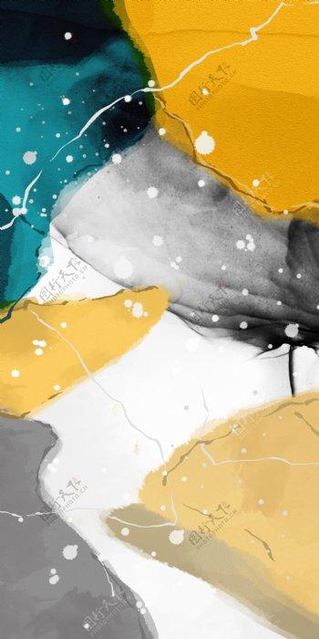 新中式色块拼接墨点泼墨装饰画