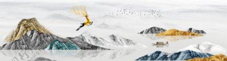 新中式大理石纹意境山水装饰画