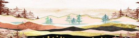 抽象山水金箔装饰画