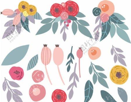 彩色卡通植物浆果