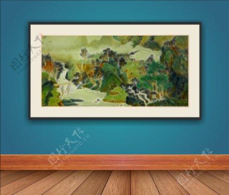 抽象山水画框挂画