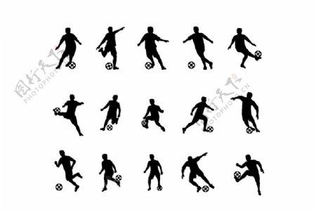 踢足球人物动作矢量剪影图片