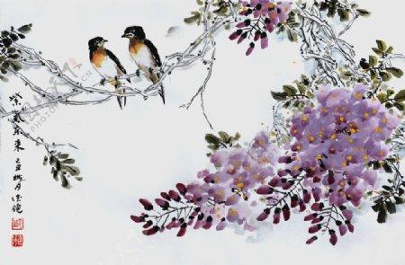 紫气东来小燕子油画