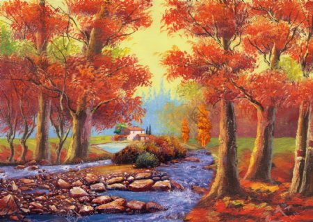 油画枫叶林枫树林