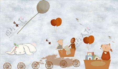 儿童卡通气球背景墙