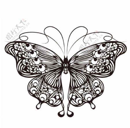 蝴蝶复古线条标志图标素材