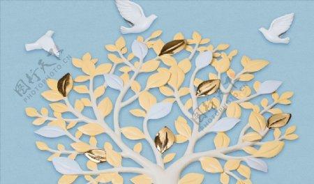 现代简约3D浮雕发财树飞鸟背景