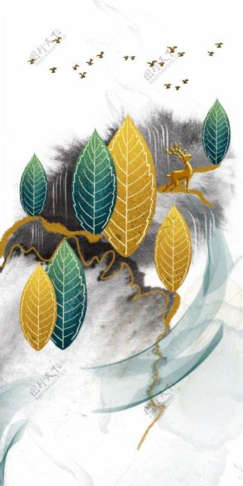 新中式发财树麋鹿装饰画图片