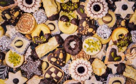 手工绘制圣诞节曲奇饼照片图片
