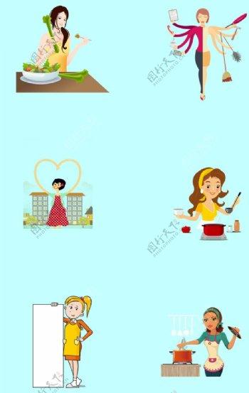 家庭主妇超人妈妈手绘卡通图片