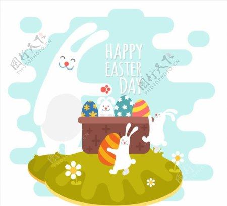 复活节大白兔图片
