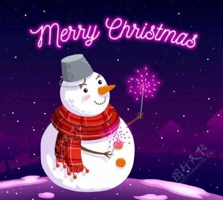 放紫色烟花的雪人图片