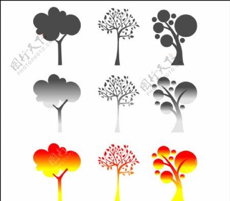 各种树矢量剪影图片